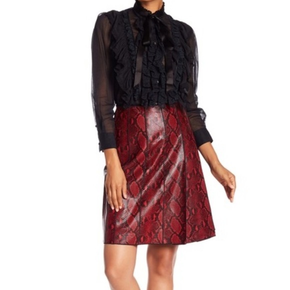 Marc Jacobs Dresses & Skirts - Marc Jacobs Python Embossed Leather A-Line Skirt